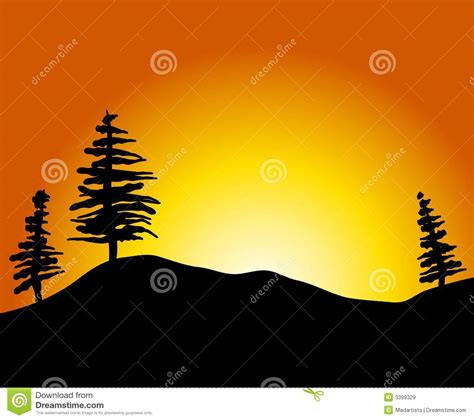 Beach House Plans Free Simple Sunset With Trees Hill Royalty Free Stock Images