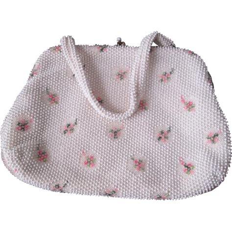 vintage 1960s beaded purse handbag white flower corde bead