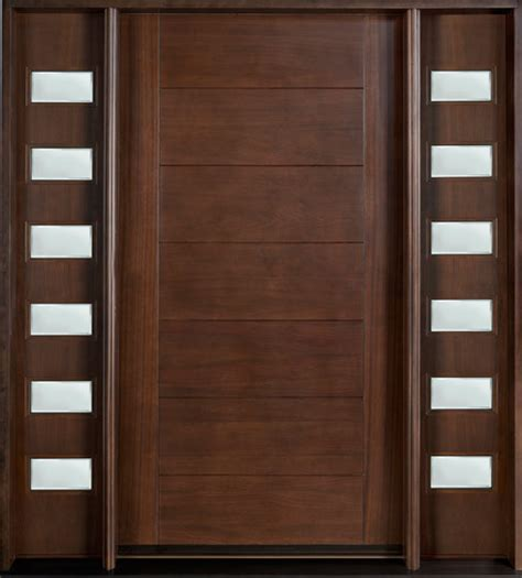 Contemporary Wooden Front Doors Modern Front Door Custom Single With 2 Sidelites Solid Wood With Walnut Finish Modern