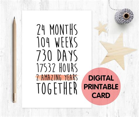 2nd Anniversary Card Template by Printable 2nd Anniversary Card 2nd Wedding Anniversary