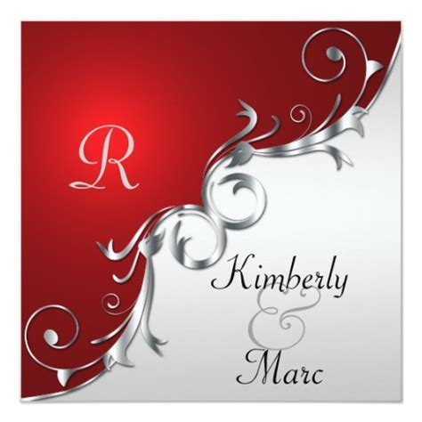 Elegant Red and Silver Wedding Invitation   Zazzle