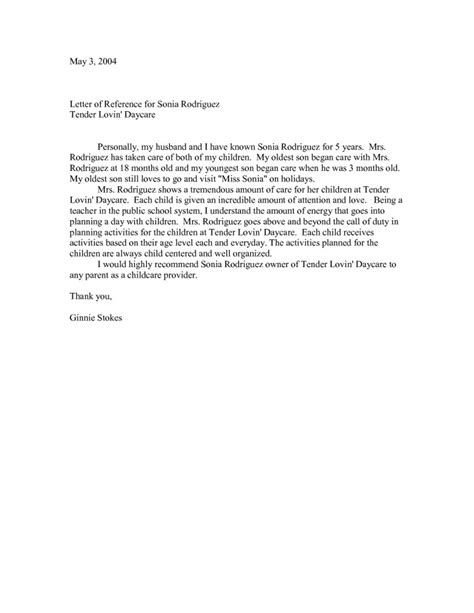 Character Reference Letter For Your Child sle character reference letter for daycare provider docoments ojazlink