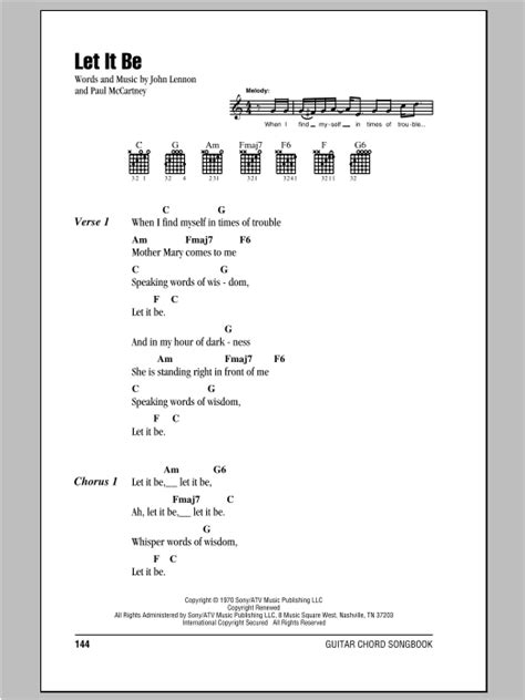 The Beatles Let It Be Guitar Chords