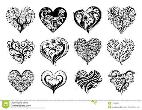 heart and scroll tattoo designs hearts stock vector illustration of