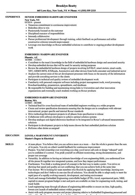resume for embedded engineers embedded hardware engineer resume sles velvet