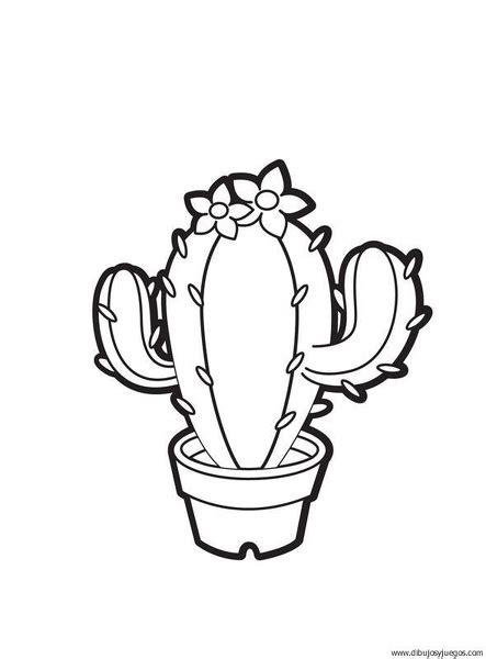 dibujo de cactus con sombrero para colorear plantas cactus 02 dibujos y juegos para pintar y colorear
