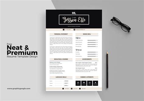 free neat premium resume template design