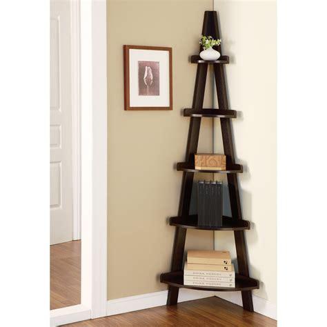 elise corner ladder display stand espresso bookcases