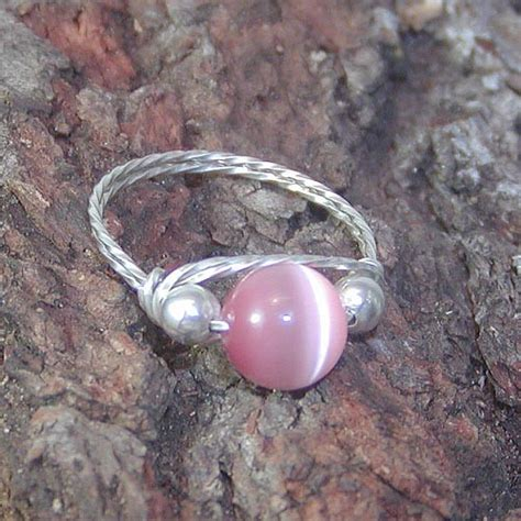 Pink Cat Eye Silver Ring sweet pink cats eye bead silver wire ring sz 8 out wiregems on artfire