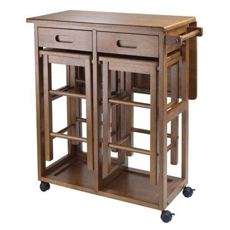 Rolling Kitchen Island Table Small Kitchen Island Table Brown Wood Rolling Lock Compact Two Bar Stools Combo Ebay