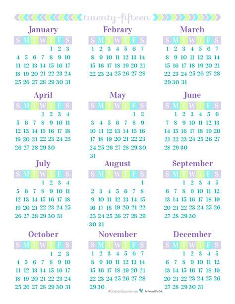 1 Year Calendar Day 26 2015 Year On A Page Printable Calendars