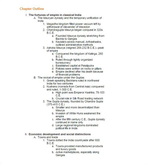 chapter outline template 9 free word excel pdf format