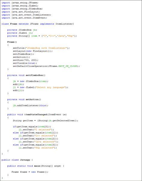 java swing jcombobox jcombobox with itemlistener java swing java tutorial