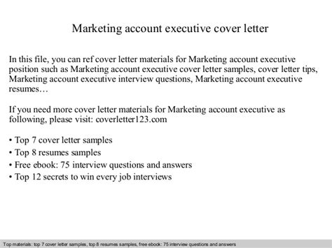 Marketing Account Executive Cover Letter by Marketing Account Executive Cover Letter