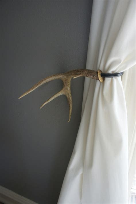 antler curtain tie backs antler curtain tie back holdback cabin decor primitive natural