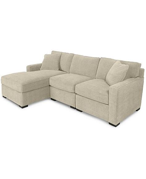 furniture radley 3 fabric chaise sectional sofa
