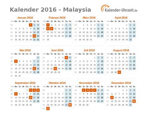 Freitag Kalender 2016 Feiertage 2016 Malaysia Kalender 220 Bersicht