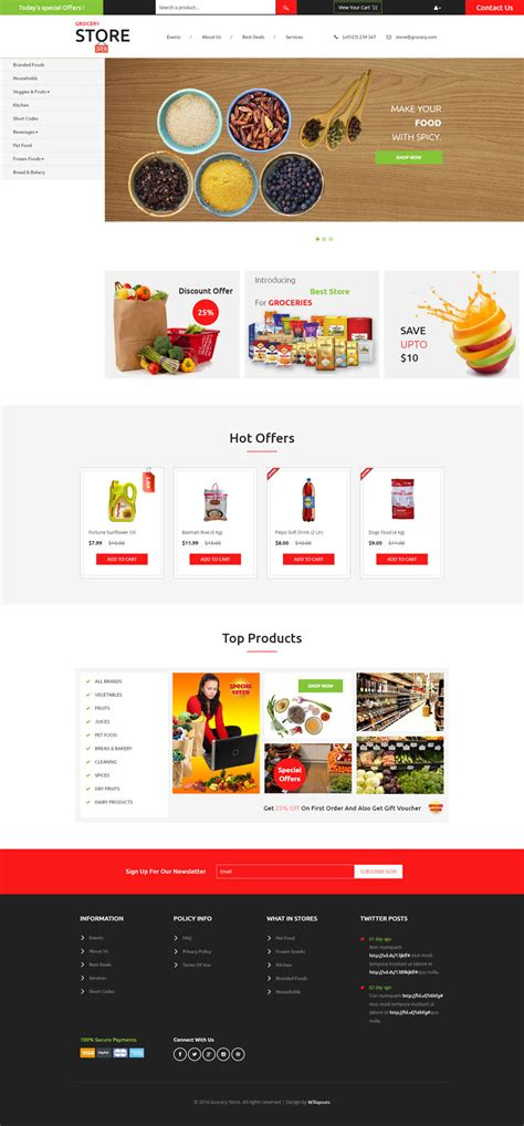 supermarket website layout grocery store a ecommerce category flat bootstrap