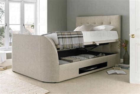 Ottoman Tv Bed Mw Kaydian Design Barnard 4ft 6 Ottoman Tv Bed Oatmeal