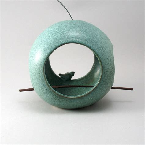 Circular Bird Feeder Bird Feeder By Cheryl Wolff Ceramic Bird Feeder