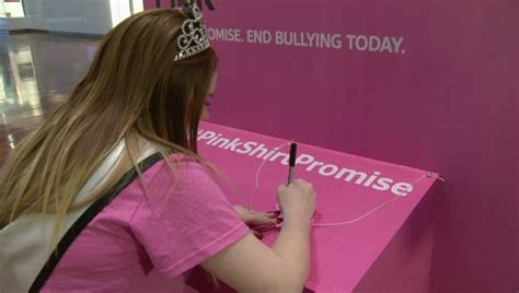 pinkshirtpromise post it notes at calgary area mall vow