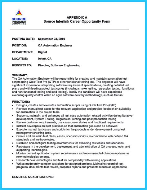 Senior Automation Engineer Cover Letter by How Professional Database Developer Resume Must Be Written