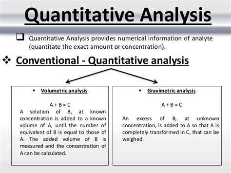 Analysis Methods Conventional Methods Of Quantitative Analysis