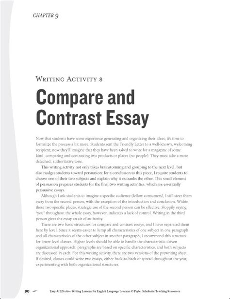 Compare And Contrast Essay Introduction by Compare And Contrast Sle Essay 5th Grade Comparison And Contrast Essay Exle College