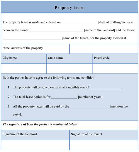 lease template for property sle of property lease