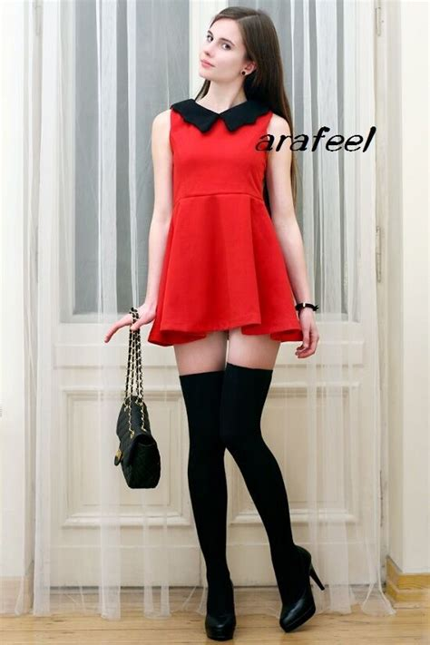 red navy peter pan black collar mixed contrast mini dress