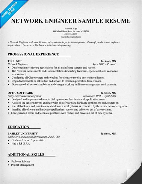 Resume Format For Hardware And Networking Engineer Network Engineer Resume Sample Resumecompanion Com