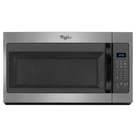 microwave store shop whirlpool 1 7 cu ft over the range microwave silver