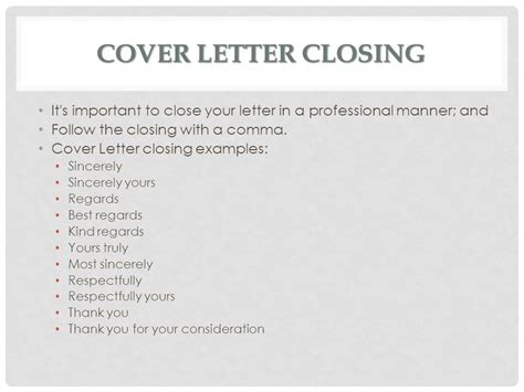 Business Letter Closing Respectfully cover letters ms batichon ppt