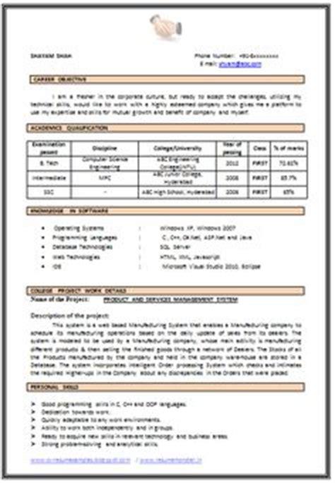 B E Freshers Resume Sle by Resume Sle In Word Document Mba Marketing Sales