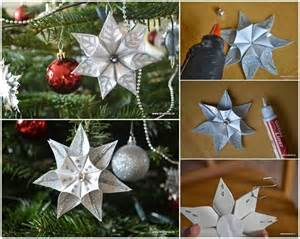 diy kanzashi star flower christmas ornament