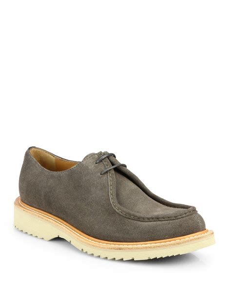 trend classic suede derby grey prada suede laced derby shoes in gray for grey lyst
