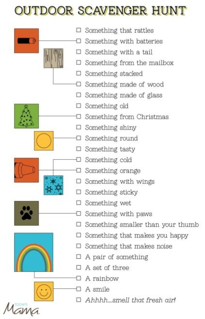 Backyard Scavenger Hunt Ideas Printable Outdoor Scavenger Hunt Card Todaysmama