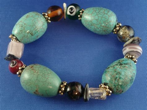 glass stones for jewelry bulky turquoise stones bracelet evil eye