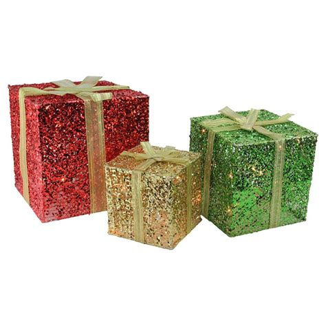 northlight 3 box outdoor set y76231 3 glittering gift box lighted yard decoration set central