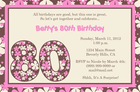 free 80th birthday invitation templates quotes for 80th birthday invitation quotesgram