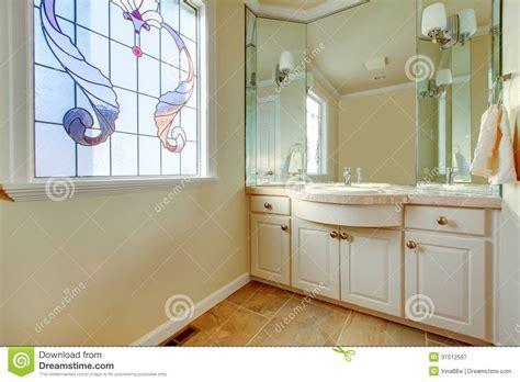 Warm Small Bathroom With Great Idea For Window Treatment