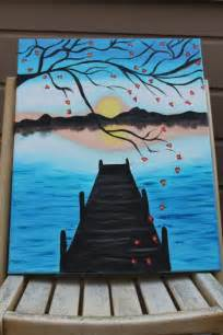 ideas for painting cherry blossom pier acrylic sunset painting original
