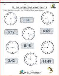 telling the time to 1 minute match the analogue and