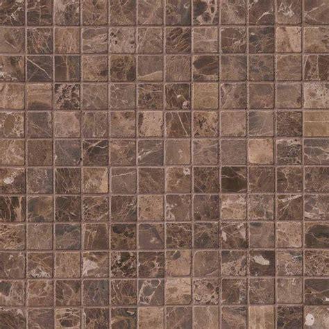 emperador dark 2x2 tumbled in 12x12 mesh marble backsplash