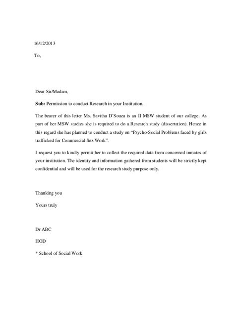Sle Of Letter Of Permission For Research Permition Letters For Dissertation Term Paper