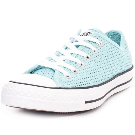 light blue converse converse chuck taylor all star perfed canvas womens