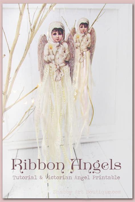 victorian ribbon angel ornament shabby art boutique