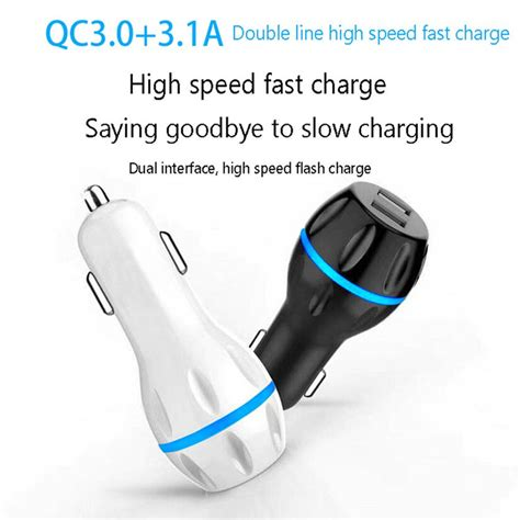 charge 3 0 car charger for iphone xs samsung dual usb car charger qc 3 0 fast charging