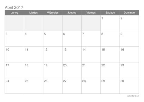 Calendario Abril 2017 Para Imprimir | calendario abril 2017 para imprimir icalendario net