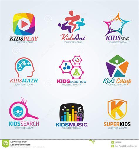 kids logo design stock illustration image of childhood kids child for art and summer c logo vector set design